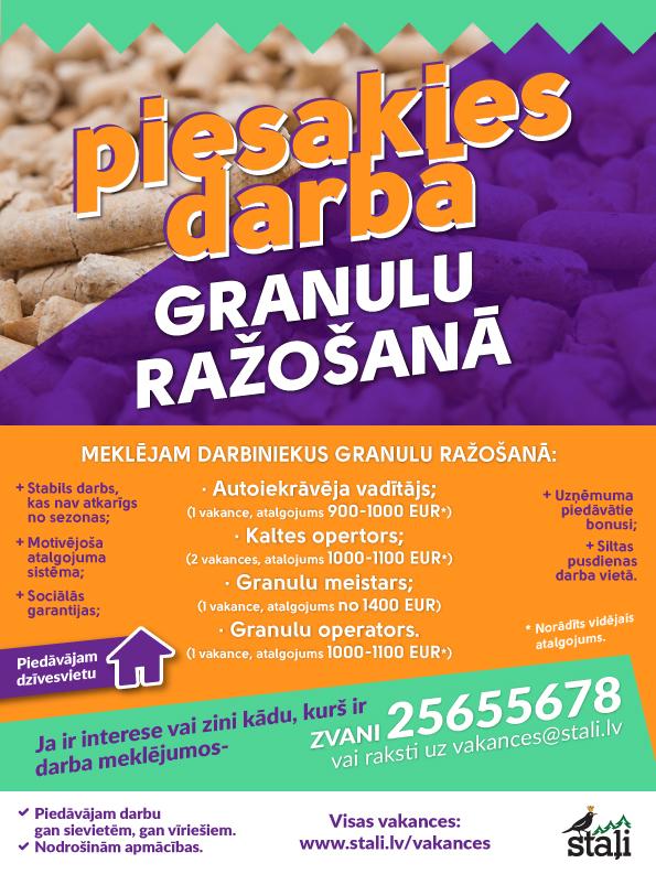 Vakances granulu ražošanā