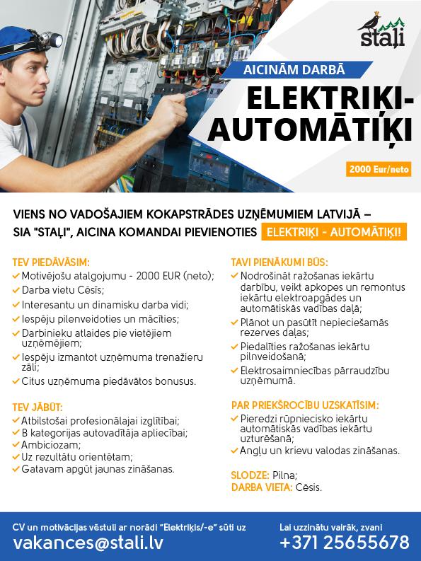 Elektriķis-/e - Automātiķis/-e
