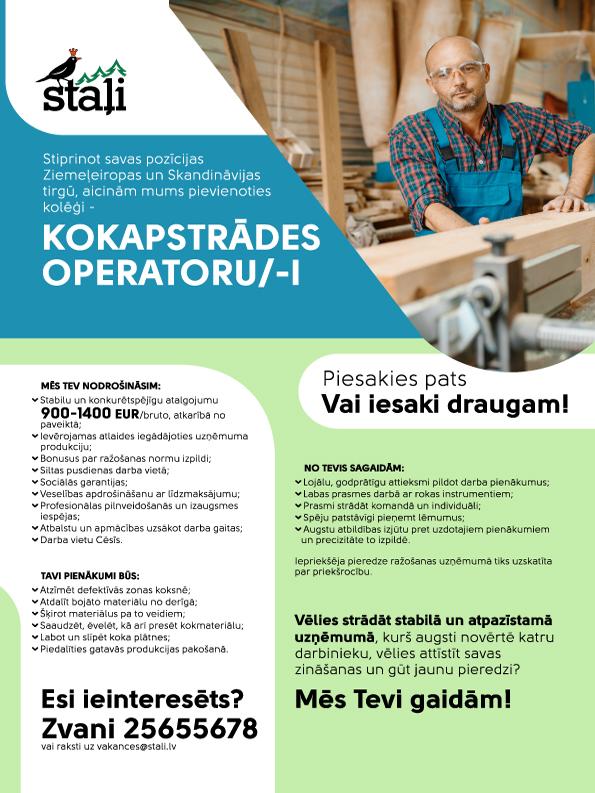 Kokapstrādes operators/-e